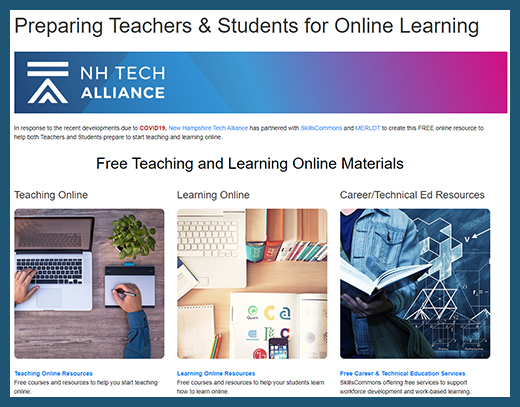 NH Tech Alliance - Teaching and Learning Online Website