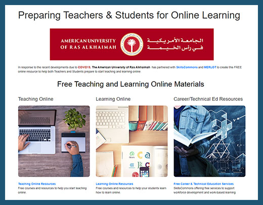 American University of Ras Alkhaimah Teaching and Learning Online